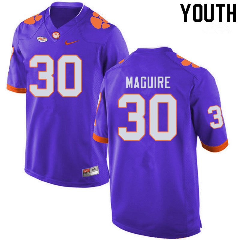Youth #30 Keith Maguire Clemson Tigers College Football Jerseys Sale-Purple